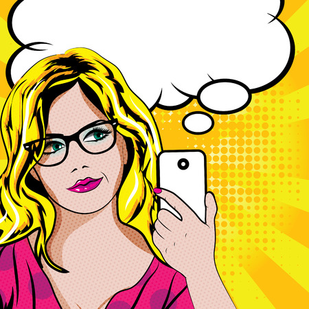 woman on cell phone: Pop art woman with cell phone Illustration