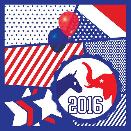democrats: Pop art American 2016 election vote