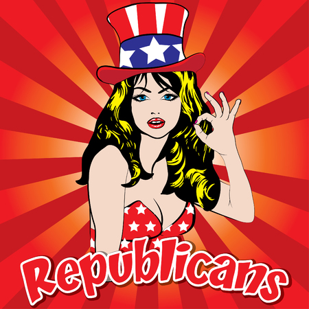republicans: Pop art woman with republicans text Illustration