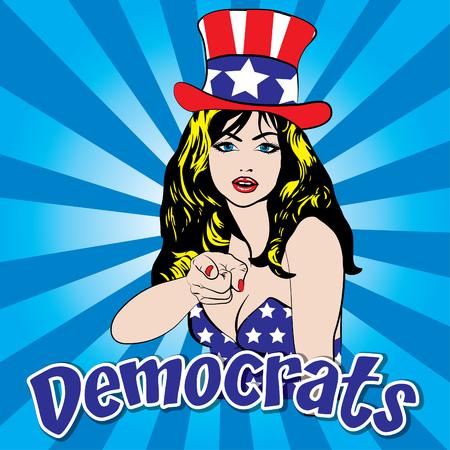 democrats: Pop art woman with democrats text Illustration