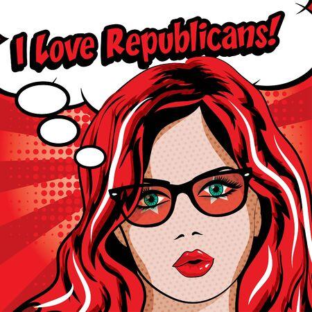 republicans: Pop art woman with I love republicans typography