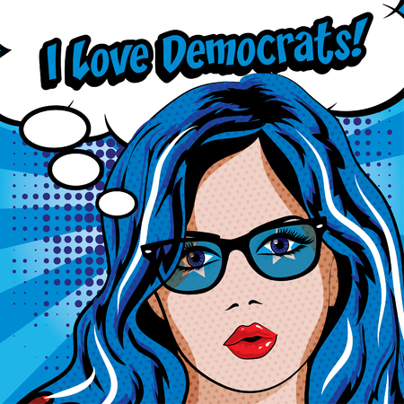 democrats: Pop art woman with I love democrats typography