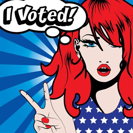 voted: Pop art woman with I voted typography Illustration