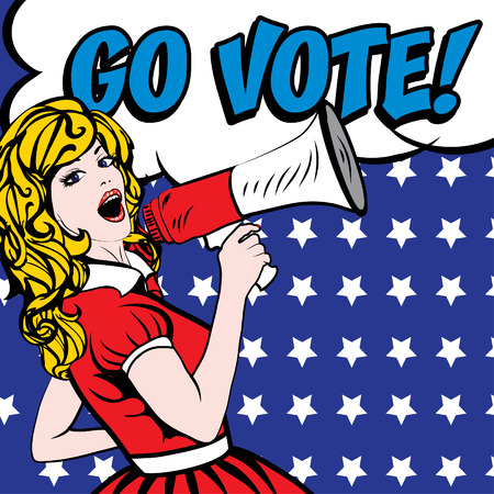 Pop art woman with megaphone and go vote typography