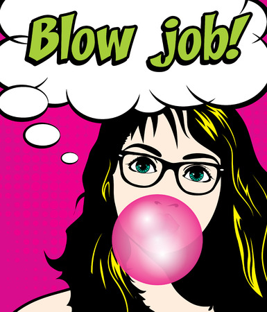Pop arte de la mujer con las encías y vidrios - Blow trabajo! Ilustración de vector