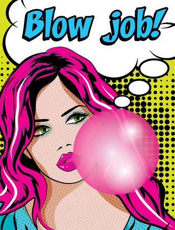 gum: Pop Art Woman with Gum - Blow job!