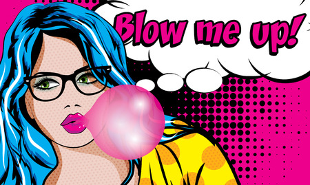 blow up: Pop Art Woman with Gum and Glasses - Blow me up! Illustration