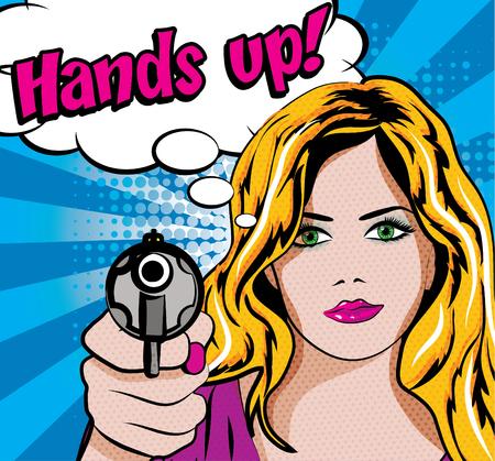 mujer, el arte pop con la pistola y las manos arriba de la tipografía