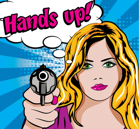 Pop art vrouw met een pistool en handen omhoog typografie