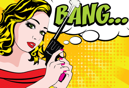 Pop art woman with pistol and bang text
