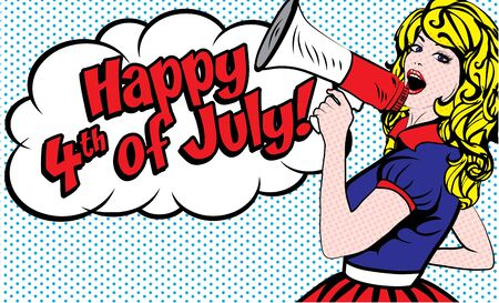 annoucement: Woman holding megaphone wishing Happy 4th of July Illustration