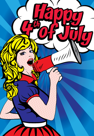 Woman holding megaphone wishing Happy 4th of July Illustration