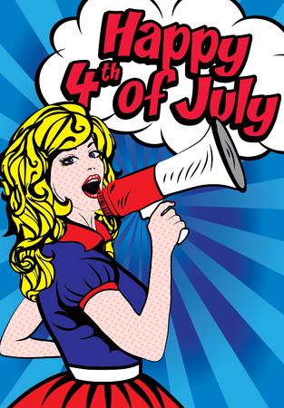 Woman holding megaphone wishing Happy 4th of July Illustration