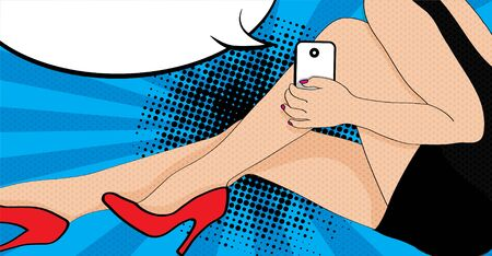 woman smartphone: Woman posing with smartphone and speech bubble Illustration