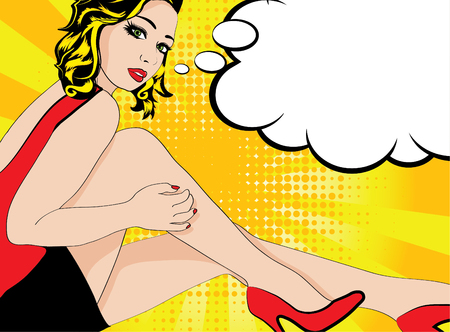 Woman posing on chair with thought bubble Illustration