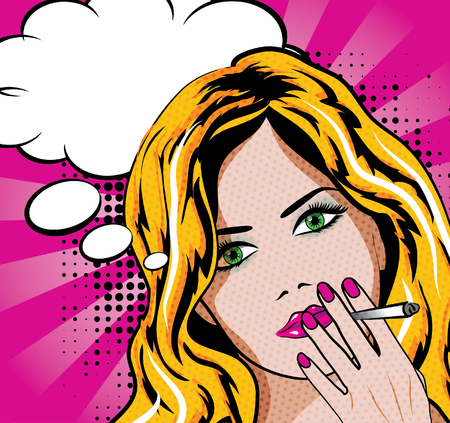 women smoking: Woman smoking with a thought bubble Illustration