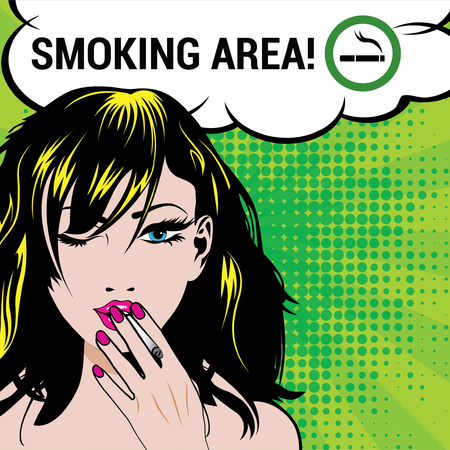 smoking woman: Woman winking with smoking area sign
