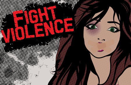 battered: Bruised woman - Fight violence