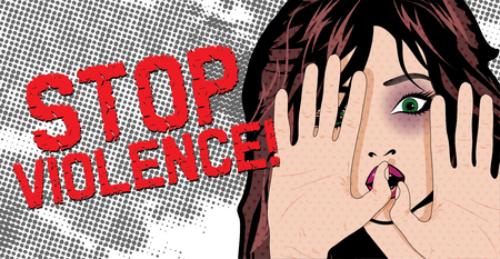 battered: Bruised woman hands with gesturing stop - Stop violence Illustration
