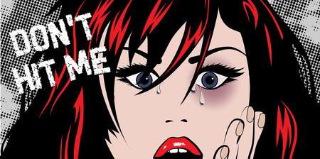 mujer golpeada: mujer magullada y llorando - No me golpeó