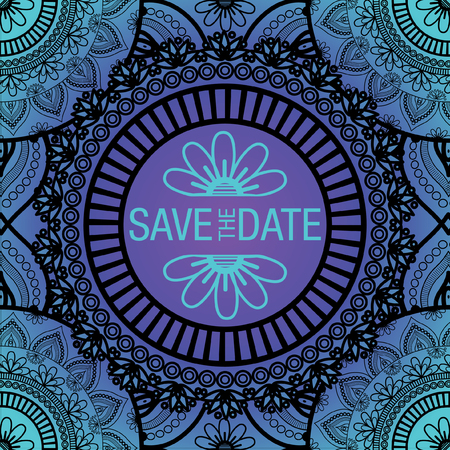 Abstract Flower Mandala Save The Date