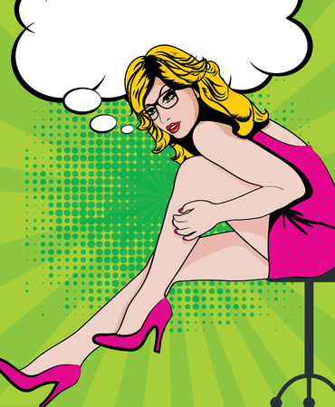 legs woman: Pop art woman with glasses with long legs sitting on a stool Illustration