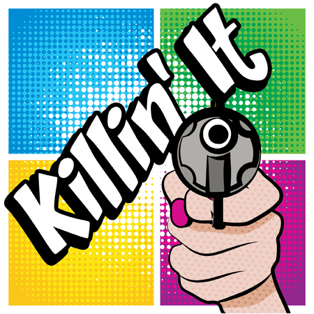 Pop Art comics icon Killinit!. Slang Speech Bubble Vector illustration.