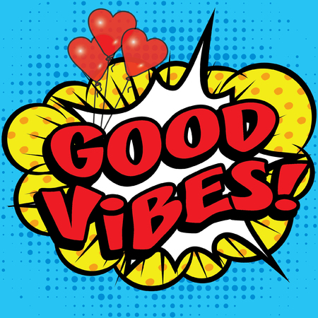 Pop Art comics icon GOOD VIBES!. Speech Bubble Vector illustration. Illustration