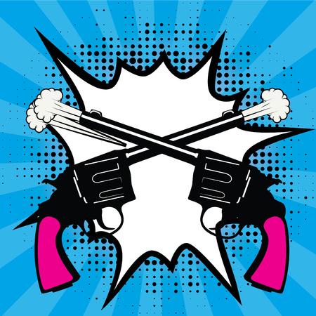 Pop Art comics icon. Guns Shoots Speech Bubble Vector illustration.