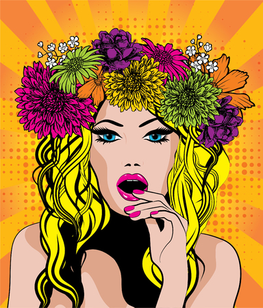 Pop Art Excited Woman with Flower Crown. vector illustration.