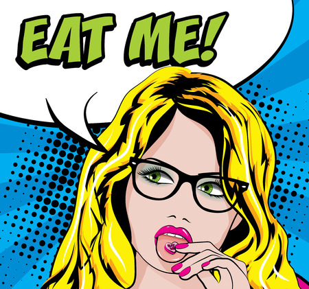 eat me: Pop Art Woman with Glasses & CandyPill on the Tongue - EAT ME! sign. vector illustration.