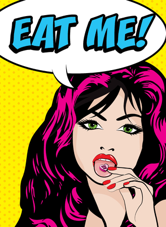eat me: Pop Art Woman with CandyPill on the Tongue - EAT ME! sign. vector illustration.