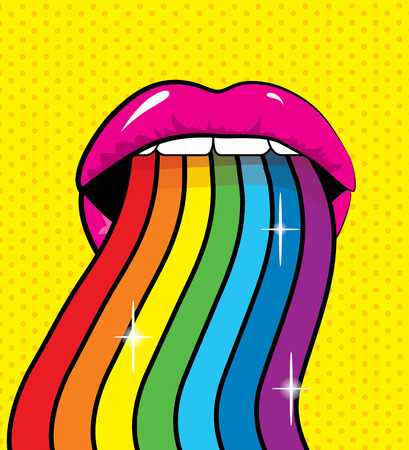Pop Art Woman Colored lips and tongue hanging out. vector illustration.