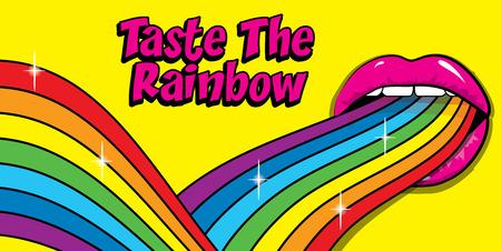 """""""Proef de Regenboog"""" teken. Pop Art Vrouw Gekleurde lippen en tong opknoping uit. vector illustratie."""