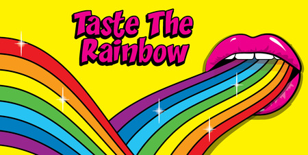 Taste The Rainbow sign. Pop Art Woman Colored lips and tongue hanging out. vector illustration.