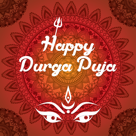 asian family: Indian Happy Durga Puja Festival. Vector illustration.