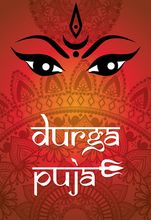 Indian Happy Durga Puja Festival. Vector illustration.