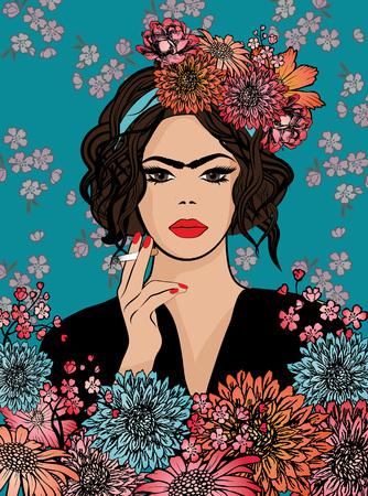 smoking woman: Pop art woman Frida Kahlo style