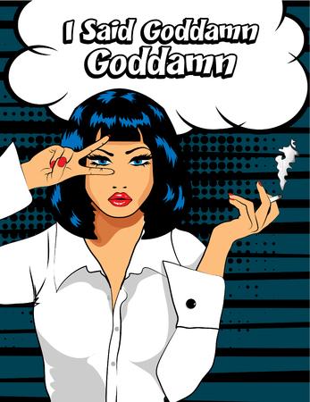Pop art woman with cigarette posing