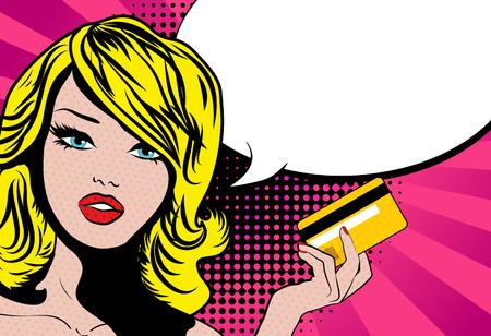연설 거품과 신용 카드로 팝 아트 스타일 여자 일러스트