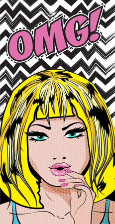 Pop art style woman with OMG