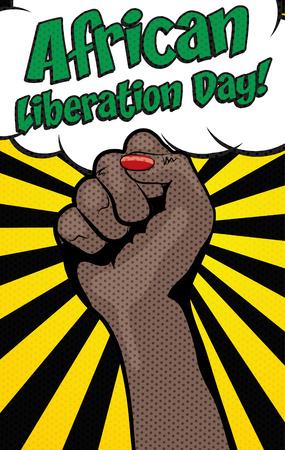 Pop art style Africa day banner Illustration