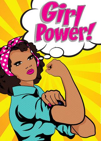 Banner de poder de niña con mujer africana