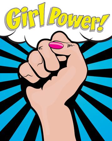 Girl power pop art banner Illustration