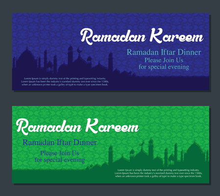 middle: Ramadan Kareem greeting banners