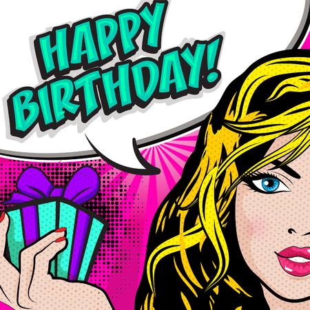 Pop art woman with Happy Birthday wish Ilustracja