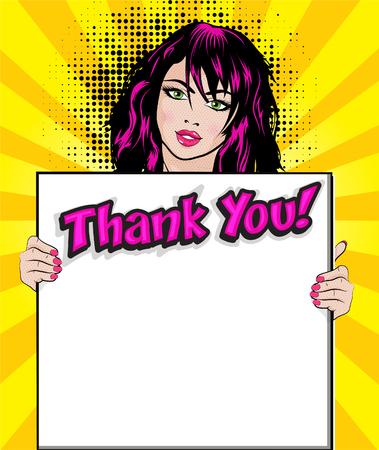 Pop-artvrouw met dank u uithangbord