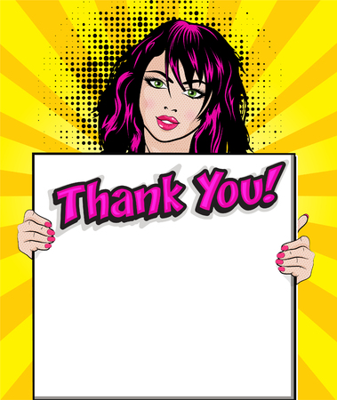 Pop art woman with thank you signboard