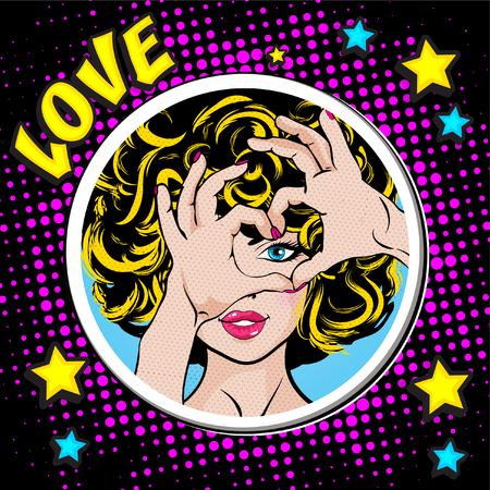 Pop art woman gesturing a heart