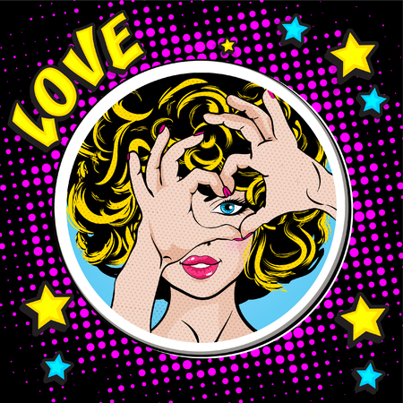 Pop art woman gesturing a heart
